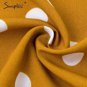 Image 5 - Simplee elegante polka dots maxi vestido bohemio a line cuello redondo Vestido largo de fiesta Ruffled Ropa de Trabajo chic otoño vestidos largos de noche