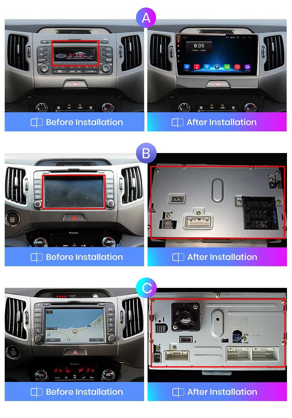 Android Auto Stereo Radio Sat NAV Doppel Din f/ür Kia Sportage 2007-2012 GPS Navigation 9 Zoll Touchscreen Head Unit Multimedia Player Videoempf/änger BT