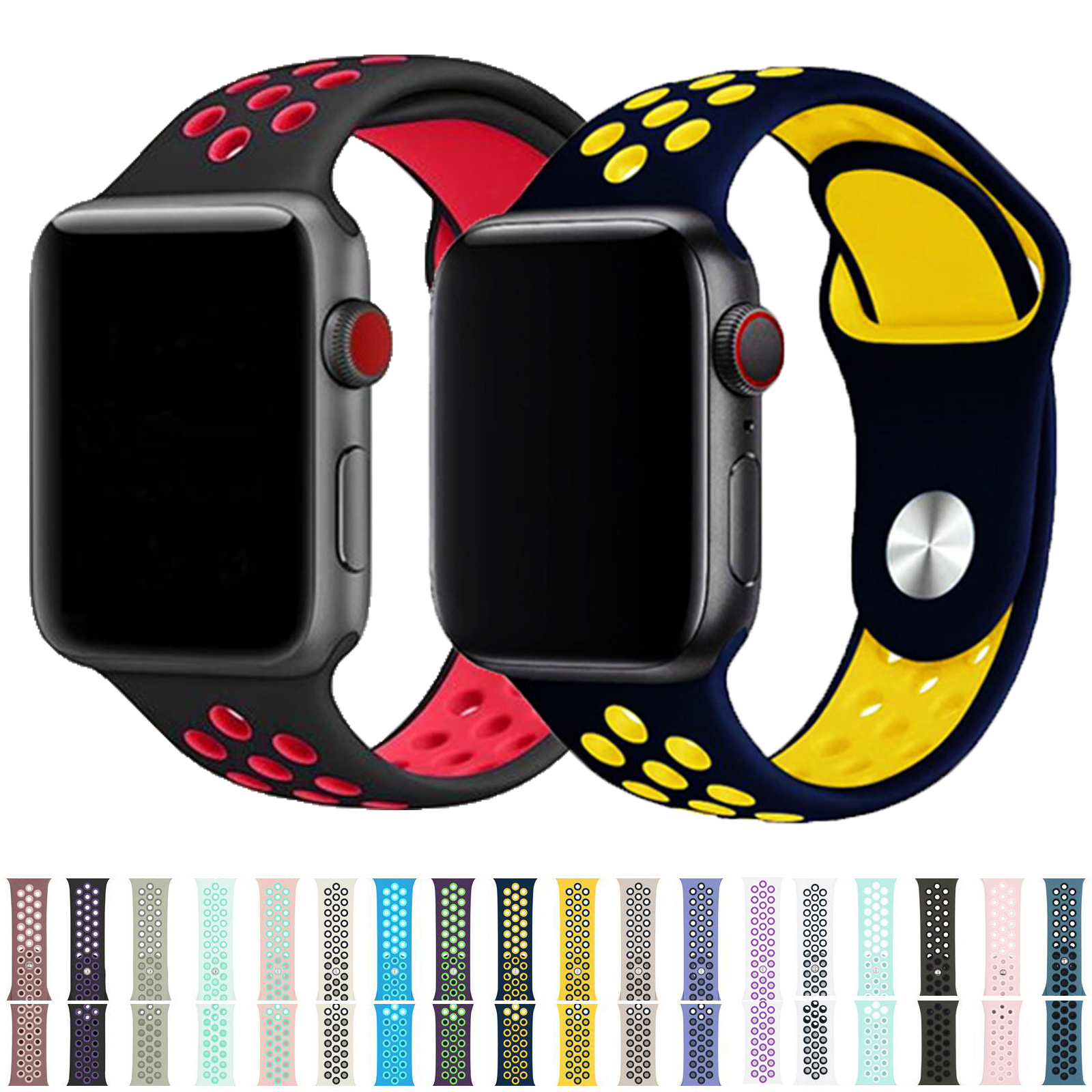 New Breathable Silicone Sports Band For Apple Watch 5 4 3 2 1 42MM 38MM Rubber Strap Bracelet Bands For Iwatch 5 4 3 40mm 44mm