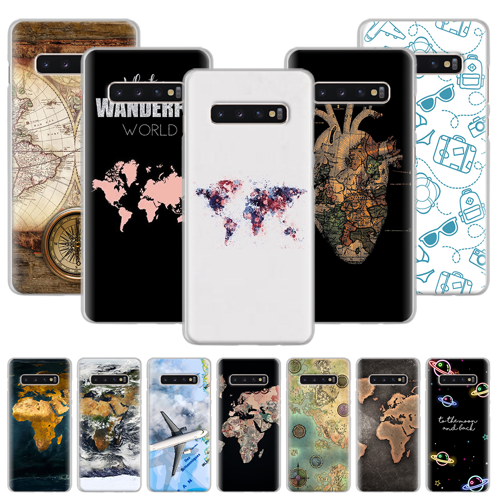 World map design Phone <font><b>Case</b></font> for <font><b>Samsung</b></font> Galaxy S10 S20+ <font><b>S10e</b></font> S8 S9 S10 Lite S20 Plus Note 8 9 10 Plus 5G Hard Cover image