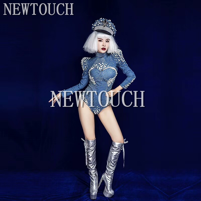 High End Long Sleeve Denim Pearl One-Piece Costume Stage Bodysuit  DS Costume Female Singer Stage Wear DJ Jumpsuit Outfit 2019