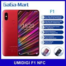 UMIDIGI F1 الهاتف المحمول أندرويد 9.0 6.3 بوصة FHD + 128GB ROM 4GB RAM هيليو P60 ثماني النواة 5150mAh شحن سريع NFC 16MP الهاتف الذكي