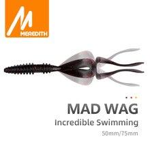 Meredith mad wag pesca iscas macias 50mm 75mm artificial iscas macias predador silicone pesca macios wobblers iscas de pesca