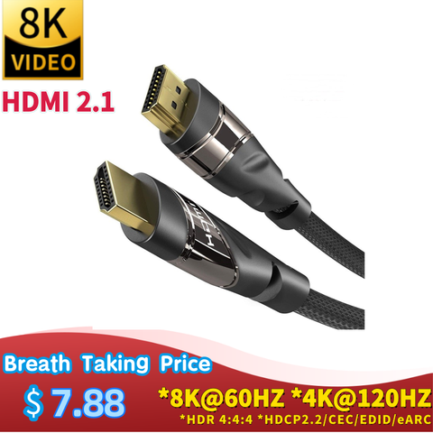 HDMI 2.1 video Cable Copper 8K@60 HZ 4K@120HZ UHD HDR 48Gbps cable HDMI Converter for PS4 HDTVs Projectors High Speed 8K 1M 2M Pakistan