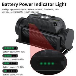 BORUiT B34 XM-L2 + 2 * COB светодиодный движения тела Сенсор фары 21700/18650 USB Перезаряжаемые задний Фонарь налобный фонарь для кемпинга