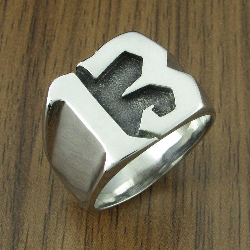 Бесплатная доставка, панк, США, размер 7-15, # 316L, нержавеющая сталь, номер, 13 букв, байкерское кольцо, ювелирные изделия