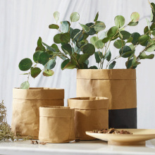 Yeahmart 4 Sizes Plant Flowers Kraft Paper Pot Holder Bag Home Desk Storage Bag Containers Washable Reusable Multifunction Khaki