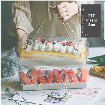 LBSISI Life 10pcs Transparent Cake Box With Handle Cupcake Swiss Clear Plastic Portable PET Packing Gift Box Roll Long