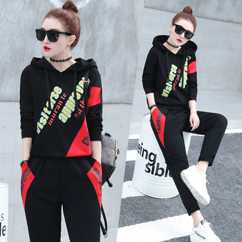 Casual Sports WOMEN'S Suit 2019 Spring And Autumn New Style Fashion Printed Hoodie Loose-Fit Sports Clothing Two-Piece Set Fashi