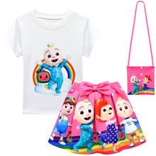 2 10Y Summer Baby Cocomelon JJ Clothes Kids Rainbow Watermelon T Shirt pleated Skirts Bag SunHat 3pcs Suit Toddler Girls Outfits