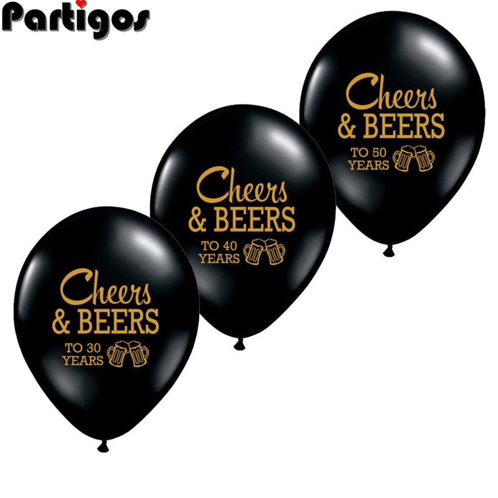 10 pçs cheers & beers para 21 30 40 50 anos aniversário de casamento 10 polegada látex balões adultos envelhecido festa de aniversário decoração suprimentos