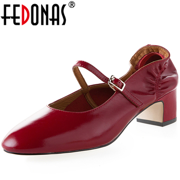 FEDONAS 2020 New Fashion Concise Retro Women Mary Janes Pumps Casual Wedding Pleated Ruffles Buckle Strap Thick Heel Shoes Woman