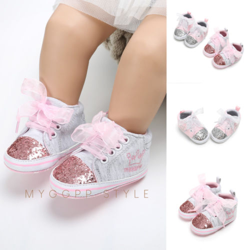 Pudcoco Newborn Baby Girl Shoes Infant Toddler Prewalker Canvas Baby Girl Crown Soft Sole Crib Shoes