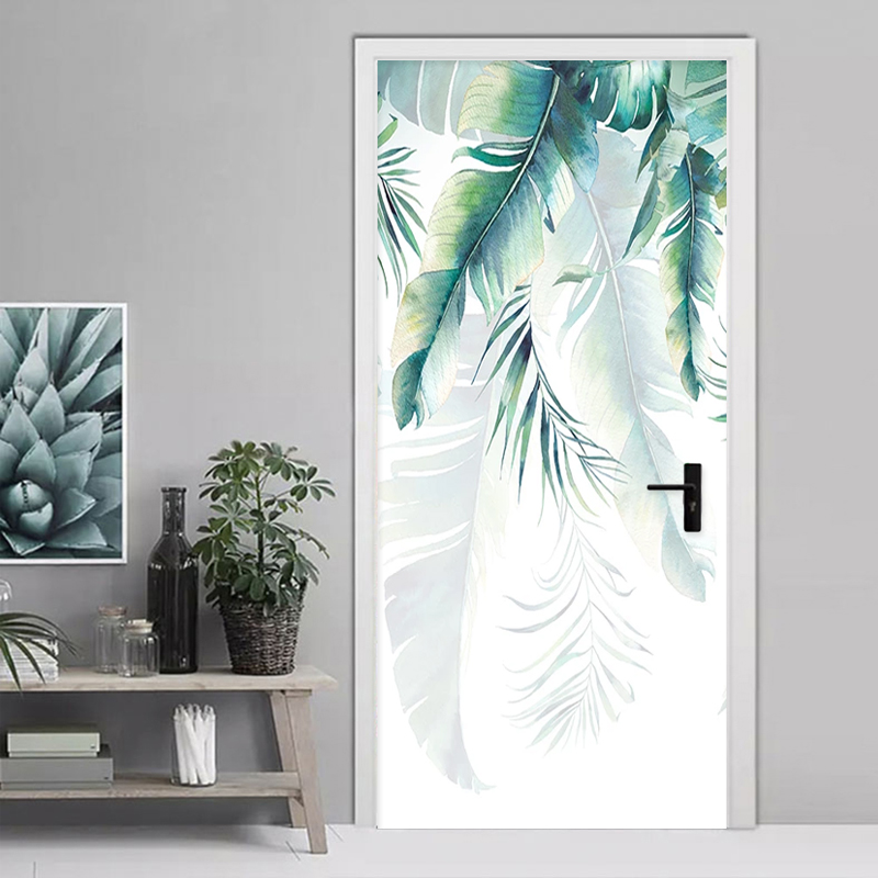 Self-Adhesive Door Sticker 3D Hand-painted Banana Leaves Mural Wallpaper Waterproof Vinyl Door Poster Living Room Bedroom Decals