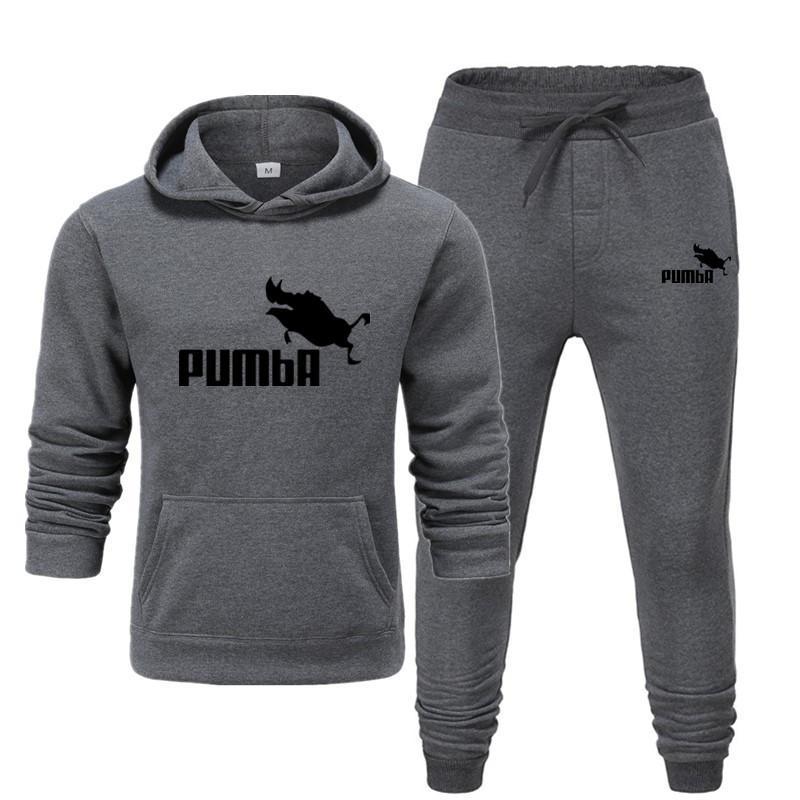 New Pumba Two Pieces Hoodie Batman Hooded Men Casual Cotton Fall / Winter Warm Sweatshirts Men