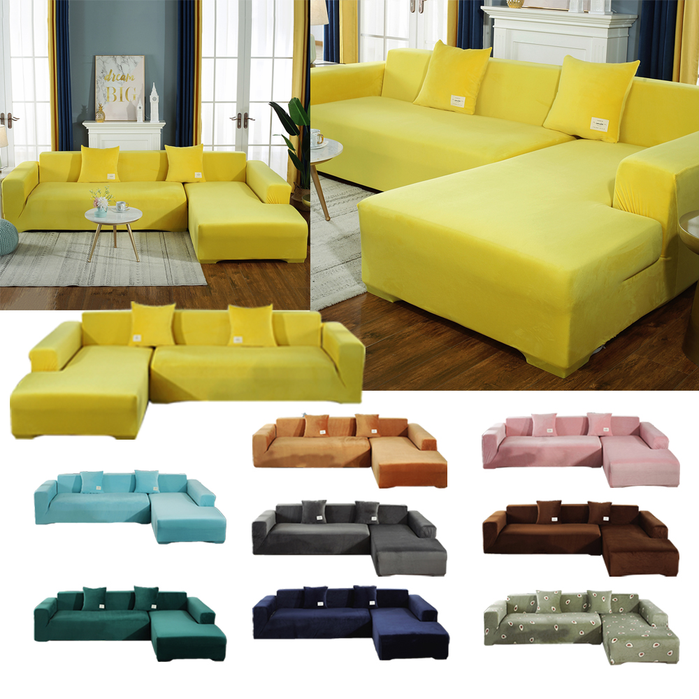 Sofa Cover For Living Room Elastic Couch Cover L Shaped Cotton Corner Chaise Longue 1/2/3/4 Seater Sofas Case Stretch Slipcovers