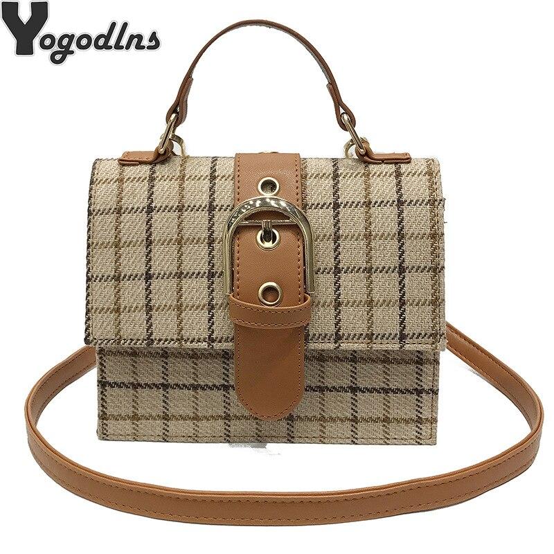 Fashion Women's Plaid Stripes Wool Belt Shoulder Bag Famous Brand Bag Women Luxury New Vintage Crossbody Bags For Women