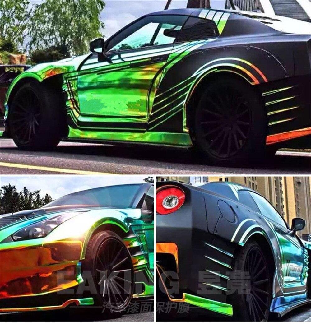 Original SUNICE 1,38x3 m Auto Wrap Vinyl Dekoration Schutz Film auf Auto Regenbogen Chrome Wrapping Folien für Auto fahrzeug Air Freies