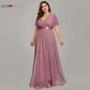 Image 4 - 핑크 신부 들러리 드레스 플러스 사이즈 적 꽤 우아한 라인 V 목 짧은 소매 시폰 긴 결혼식 파티 드레스 여성 Vestidos