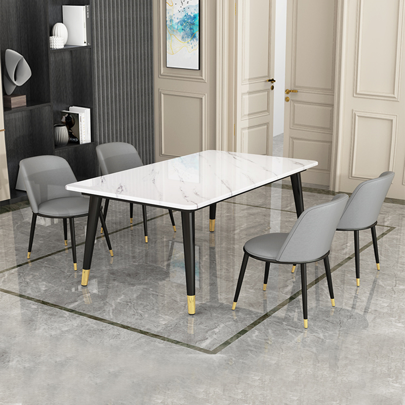 Table Home Small Family Modern Minimalist Table And Chair Combination Rectangular Light Luxury Restaurant Dining Table