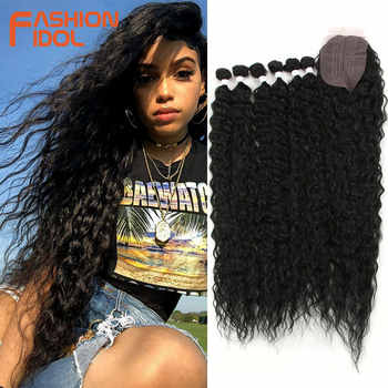 FASHION IDOL Afro Kinky Curly Hair With Closure For Black Women Soft Long 30inch Ombre Golden Synthetic Hair Heat Resistant - DISCOUNT ITEM  40 OFF Hair Extensions & Wigs