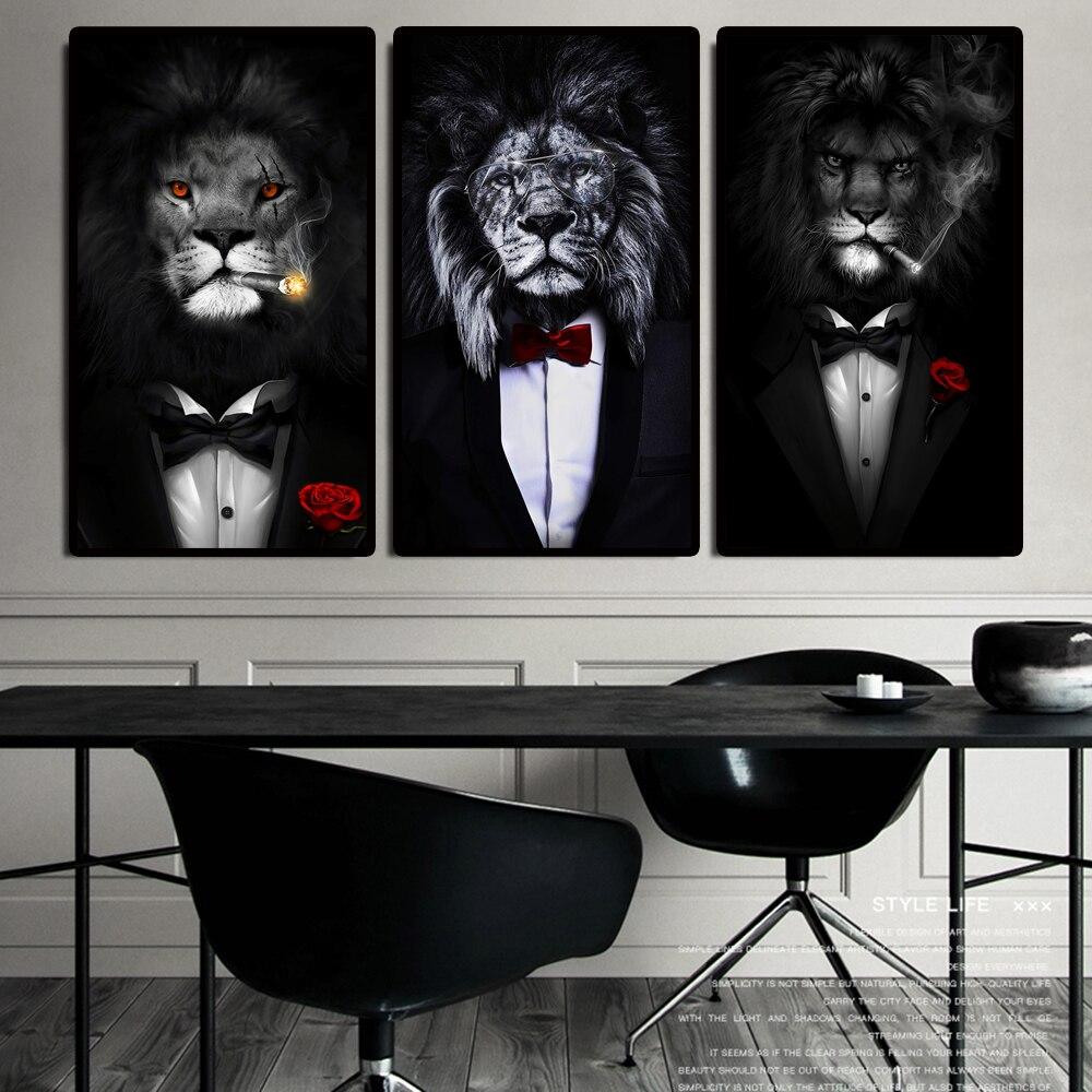 Смешное животное черный белый лев в костюме холст художественные плакаты и принты абстрактные животные холст настенные картины Искусство ...