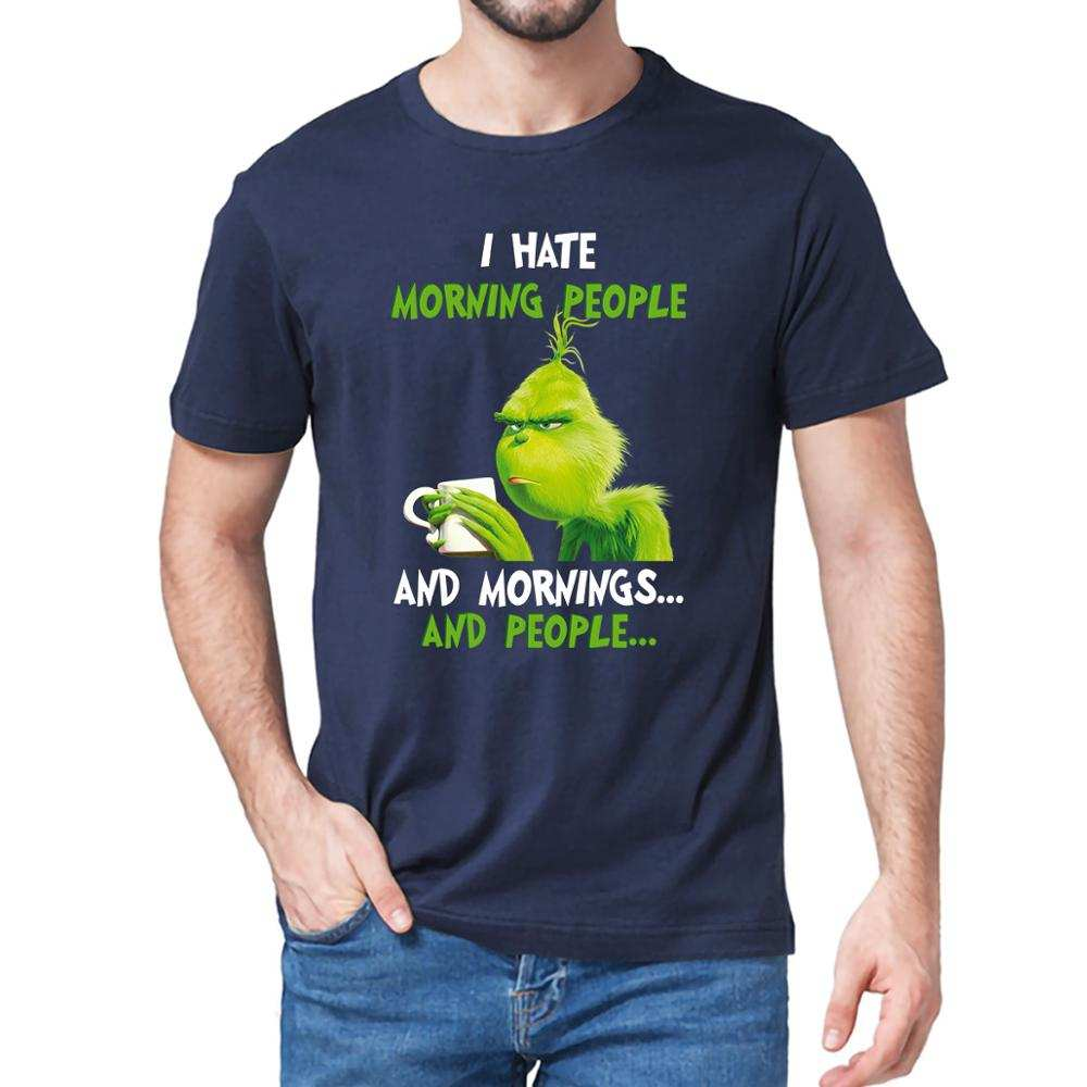 Men's T-Shirt Grinch Christmas-Gift Coffee People Morning I Hate Women Lovers 100%Cotton