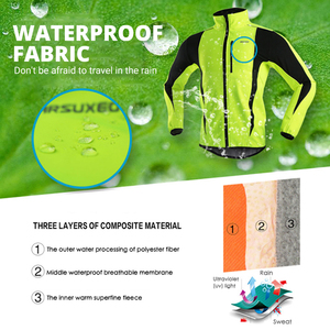 Image 2 - ARSUXEO Winter Warm Up Thermal Fleece Cycling Jacket Bicycle MTB Road Bike Clothing Windproof Waterproof Long Jersey Jersey