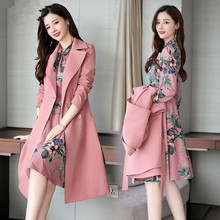 Spring Autumn Trench Coat Slim OL Ladies Trench Coat Women Dress Women Windbreakers Plus Size Two Pieces Women Sets Trench Coats cheap GPFDRL Full Broadcloth Office Lady Polyester Button Pockets Spliced Print Long 1A1404 V-Neck Single Breasted M L XL XXL 3XL 4XL