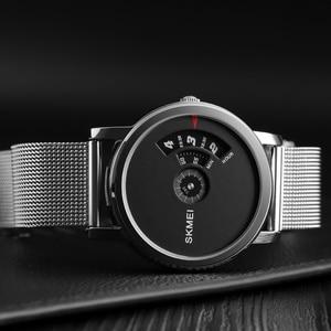 Image 4 - SKMEI Новые Креативные кварцевые мужские часы со стальным сетчатым ремешком, водонепроницаемые Модные повседневные мужские наручные часы, мужские часы