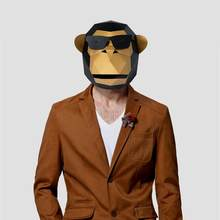 3D Paper Mask Fashion Sunglass Gorilla Animal Costume Cosplay DIY Paper Craft Model Mask Christmas Halloween Prom Party Gift