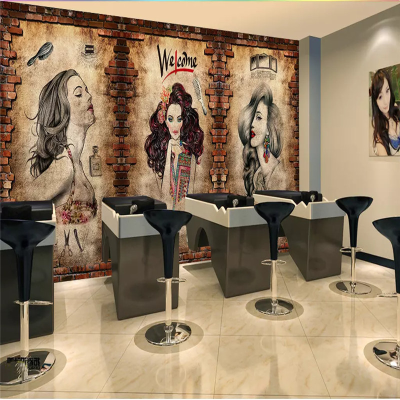Vintage Barber Shop Mural Wallpaper Hair Salon Hairstyle Center Industrial Decor Cement Wall Brick Wall Background Wall Paper 3D