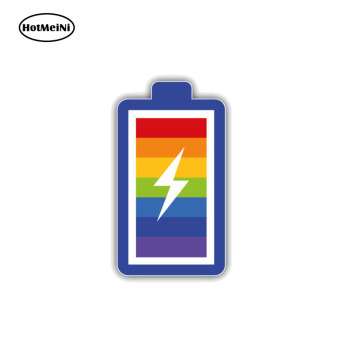 HotMeiNi Personality LGTB Gay Pride Rainbow Battery PVC Decal Car Sticker Car Body Bumper Accessories 7CM*13CM image