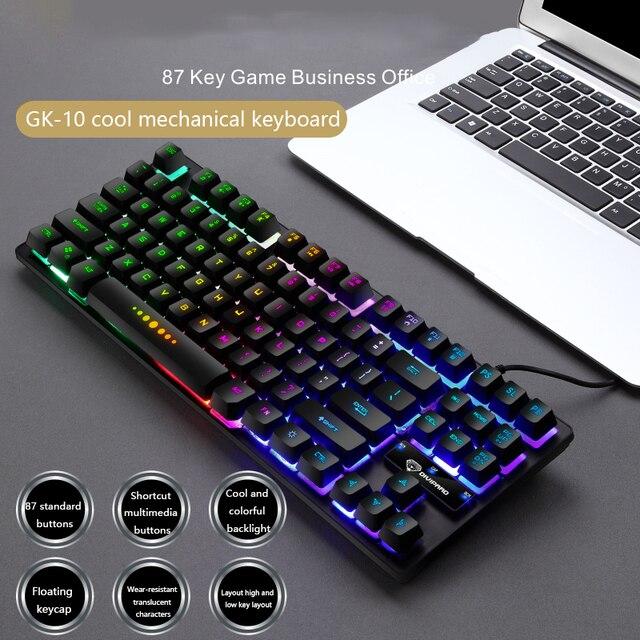 Luminous Wired Gaming Keyboard Mechanical 87-key Keyboards USB Keycaps Keyboard Waterproof Computer Game Teclado Gamer Mecanico