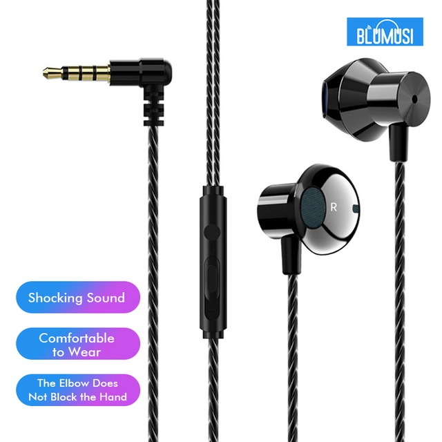 F12 Wired In Ear Earphones Bass Headset Elbow Plug for Convenient Mobile Gaming Movie Sports with Microphone and Wire control