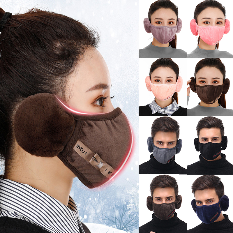 2 In 1 Velvet Pure Color Ear Protector Face Mask Winter Unisex Thick Plush Warm Dustproof Windproof Mask Earmuffs Accessories