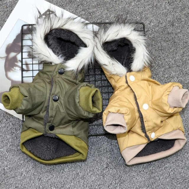 Pet Cats and Dogs Winter Warm Down Jacket Jacket Medium and Small Dog Chihuahua Hooded Clothes Lightweight Hoodie 4