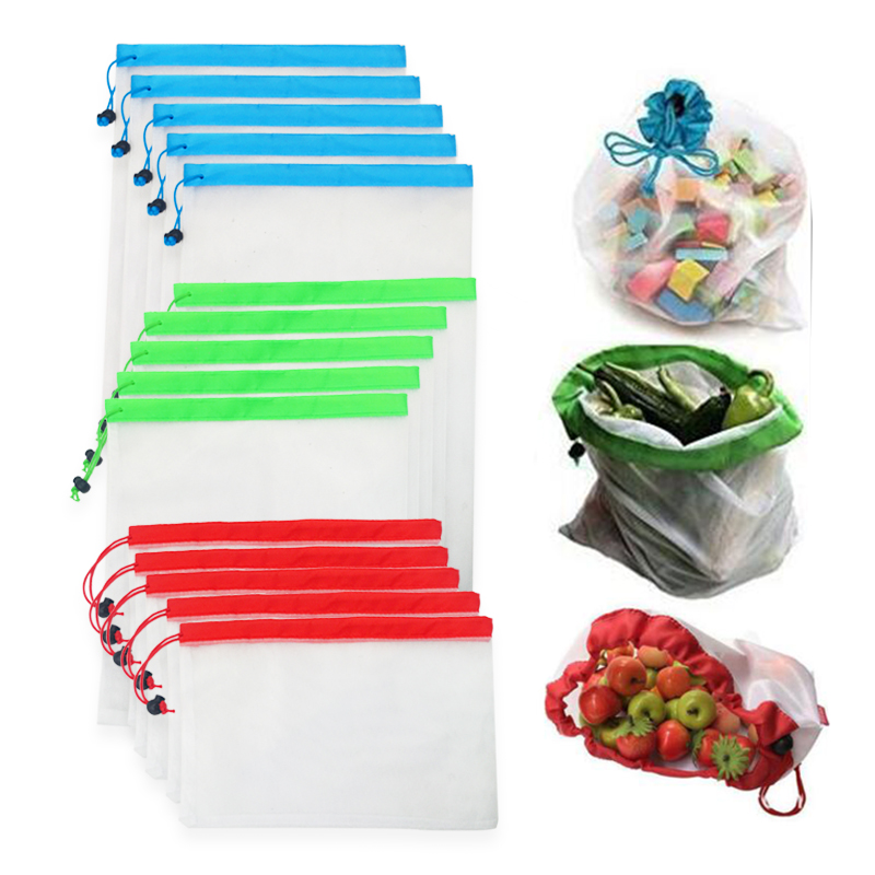 12pcs/lot Reusable Mesh Produce Bags Washable Eco Friendly Bags For Grocery Shopping Storage Fruit Vegetable Toys Sundries Bag
