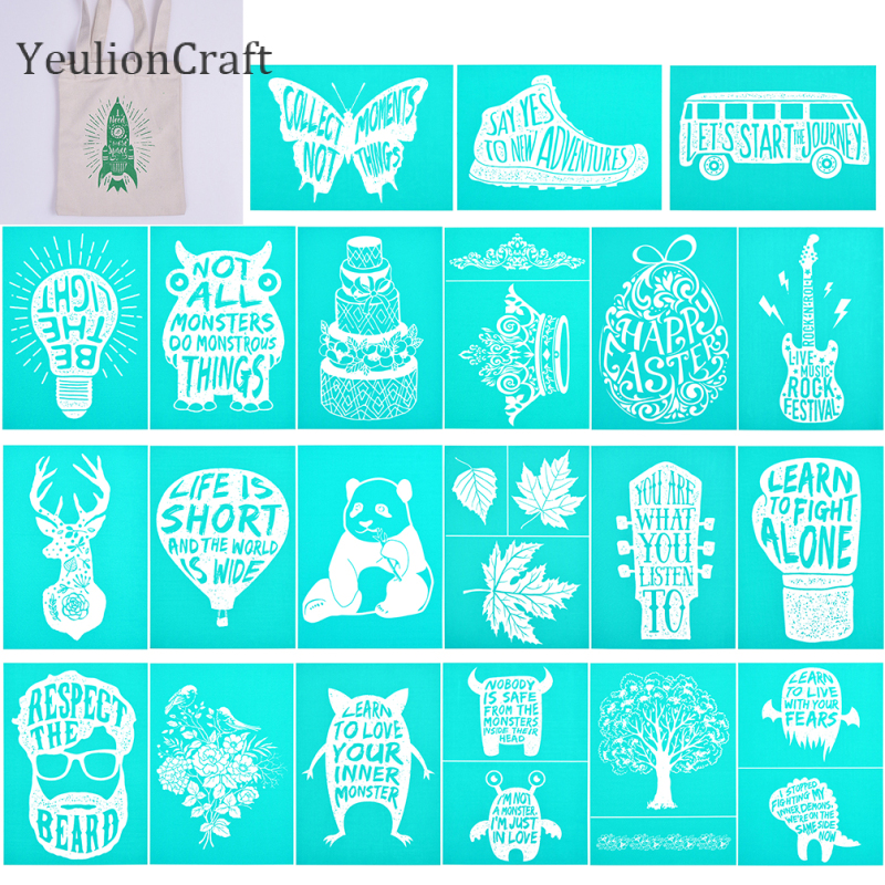 YeulionCraft 17.8x12.5cm Alphabet Lighter Printed Self-Adhesive Silk Screen Printing Stencil Mesh Transfer For Pillow Home Decor