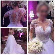 Кружевное свадебное платье с длинным рукавом круглым вырезом