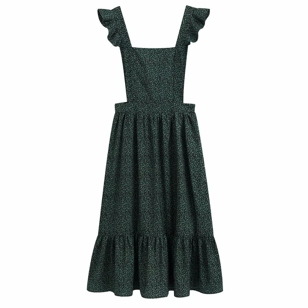 Women Fashion Floral Print Pleated Ruffles Green Vest Midi Dress Ladies Sexy Backless Cross Vestidos Chic Party Dresses DS3381