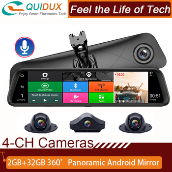 3 in 1 car rear view mirror radar detector car dvr dash cam gps wifi android gps navigation map 8gb ddr parking video recorder Best  12 Inch Rearview Mirror  4 Channel  Cameras 2GB+32GB Car DVR 4G Android ADAS Dash Cam GPS  Wifi auto Video Recorder