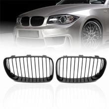 2pcs For 2007-2013 BMW E81 E82 E87 E88 118i 128 Gloss Black Front Kidney Grille New Double-edged Shining