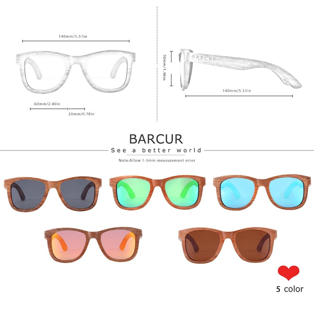 BARCUR Natural Wooden Sunglasses for Men Polarized Sunglasses Wood oculos de sol feminino frete gratis 2