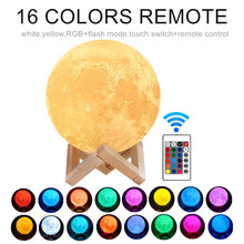 16 Colors LED Night Lamp 3D Moon Lamp Color Change Rechargeable 3D Touch Moon Lamp Kids Night Lamp for Home Child's Gifts
