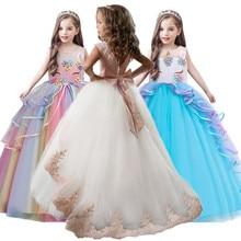 ילד ילדה אלגנטי חתונות פרל עלי כותרת ילדה שמלת נסיכת המפלגה תחרות ארוך שרוול תחרה טול עבור 3 4 5 6 7 8 9 10 11 12 Yrs