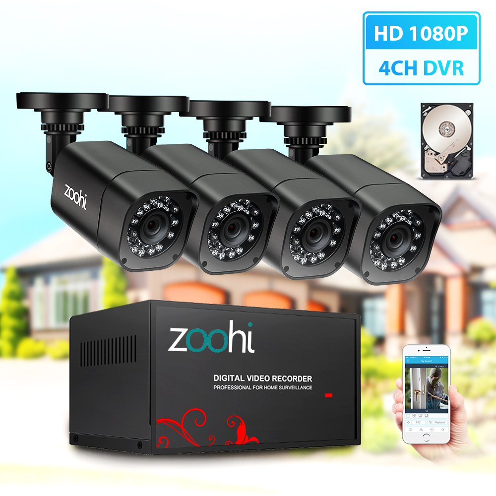 Zoohi AHD DVR Kit CCTV System 4CH 720P/1080P AHD Outdoor Waterproof Bullet Camera P2P Security Surveillance Set Security System
