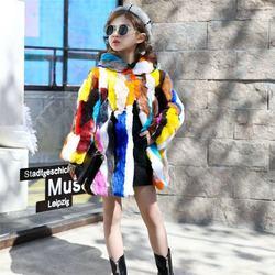 2020 New Winter Children Girl Real Rabbit Fur Coat Kids Girl Thick Warm Hooded Jacket Teenage Medium Long Overcoat Outwear W120