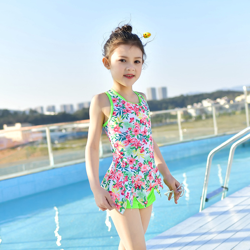 18 New Style Hot Sales One-piece Swimming Suit Camisole Cross Floral-Print Hipster Cute Sweet Small Girls KID'S Swimwear
