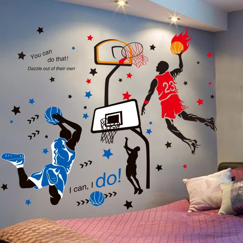 Наклейки на стену для баскетбольных игроков, спортивные стильные настенные наклейки «сделай сам» для детской комнаты, баскетбольной площа...